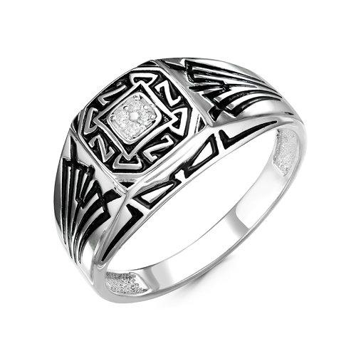 Купить Мужская печатка из серебра 925 пробы с бесцветным фианитом - 0023 8a1c0369843c9