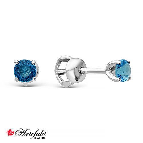 Пусеты из серебра 925 пробы с синими фианитами - 533