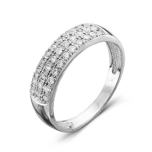 680ad36bfc7f Серебряное кольцо 925 пробы с бесцветными фианитами - 011