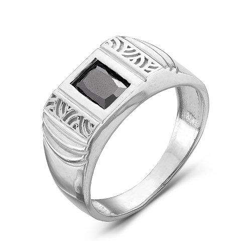 Купить Мужская печатка из серебра 925 пробы с черным фианитом - 004 5fd947f5455f1