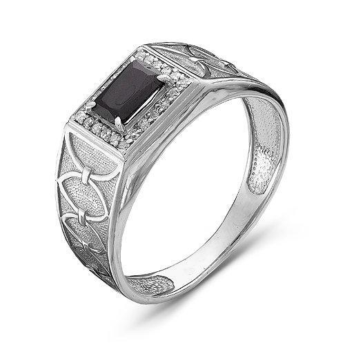 Купить Мужская печатка из серебра 925 пробы с черным фианитом - 026 7b2d5a93be8c0